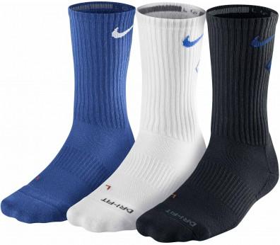 Nike - Dri-Fit Fly Crew Calcetines - 3 pares (blanco/azul/azul marino)